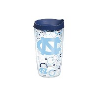 Tervis UNC Bubble Up Wrap Tumbler with Navy蓋、16オンス、クリア
