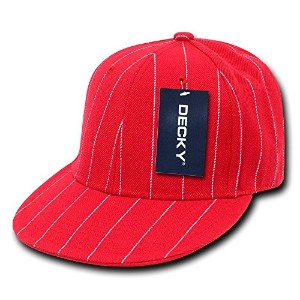 Decky RP3-PL-RED-22 Pin Striped Fitted Cap, Red, Size 6.88