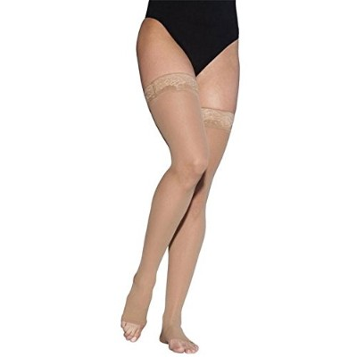 Sigvaris Ever Sheer Thigh High 20-30mmHg Women's Open Toe Short Length, Medium Short, Natural by...