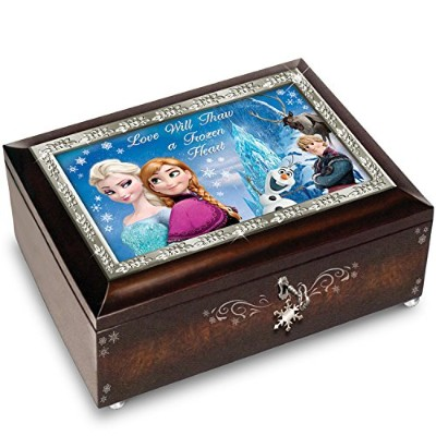 "限定版★01-21249-001 Disney FROZEN Brown Music Box Plays the Melody of ""Let It Go"" ディズニー アナと雪の女王..."