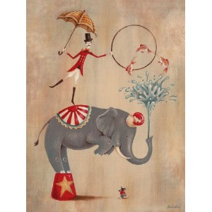 Oopsy daisy, Fine Art for Kids Vintage Circus Elephant Stretched Canvas Art by Sarah Lowe, 18 by 24...
