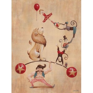 Oopsy daisy, Fine Art for Kids Vintage Circus Strong Man Stretched Canvas Art by Sarah Lowe, 18 by...