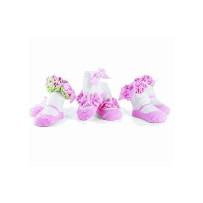 Mud Pie(マッドパイ)Chick Decorated Cotton Socks Pink 0-12Months 3Pack 靴下セット【並行輸入品】