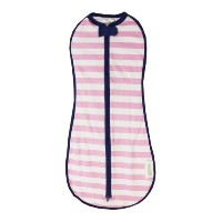 Woombie Original Baby Swaddle, Pink Stripe Navy Trim, Big Baby 14-19 Lbs by Woombie