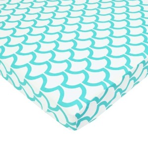 TL Care 100% Cotton Percale Fitted Mini Crib Sheet, Aqua Sea Wave by TL Care