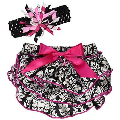 Stephan Baby Ruffled Diaper Cover and Curly Band Gift Set, Little Diva Hot Pink and Black, 6-12...