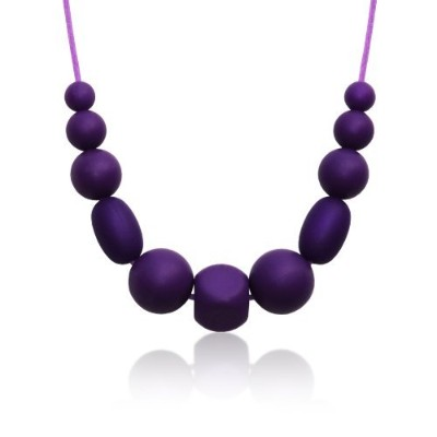 Siliconies Medley Necklace - Silicone Bead Necklace (Teething/Nursing) (Plum-Purple) by Siliconies