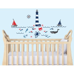 Mini Red, Navy and Gray Nautical Decal for Nursery by Nursery Decals and More