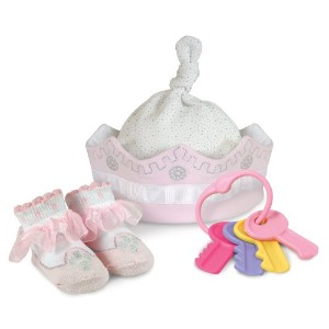 Stephan Baby Royalty Collection Knit Crown, Bootie Socks and Key Rattle Gift Set, Little Princess,...