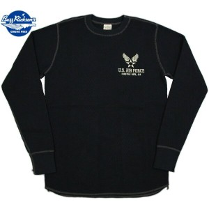 "BUZZ RICKSON'S/バズリクソンズ L/S THERMAL T-SHIRT""U.S. AIR FORCE"" エアフォースマーク入り、長袖サーマルTシャツ/ワッフルTEE BLACK..."