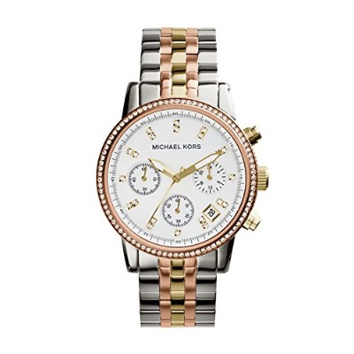 Michael Kors Women's Ritz MK5650 Two-Tone Stainless-Steel Quartz Watch with White Dial