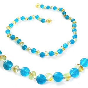 The Art of Cure Baltic Amber Teething Necklace for Baby (Blue Jade/Lemon) - Anti-inflammatory ......