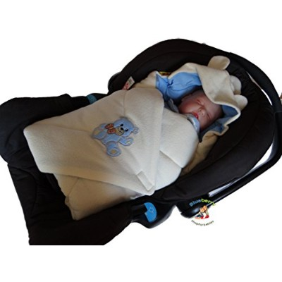 BlueberryShop Hooded Thermo Terry for CAR SEAT Swaddle Wrap Blanket Sleeping Bag for Newborn baby...