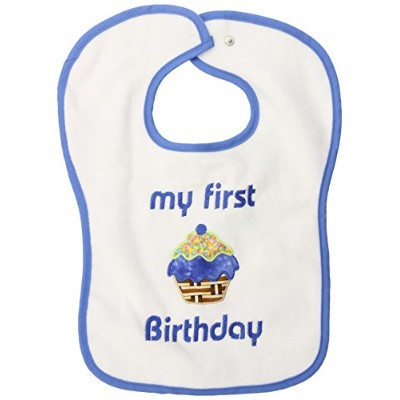 Raindrops My First Birthday Appliqued Bib, Royal Blue by Raindrops