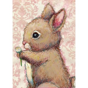Oopsy Daisy Bunny and Clover Canvas Wall Art, Pink/Brown, 10 x 14 by Oopsy Daisy