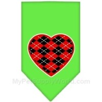 Mirage Pet Products 66-115 SMLG Argyle Heart Red Screen Print Bandana Lime Green Small