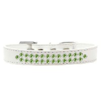 Two Row Lime Green Crystal Size 16 White Dog Collar