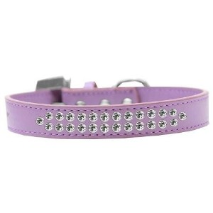 Two Row Clear Crystal Size 16 Lavender Dog Collar
