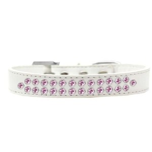 Two Row Light Pink Crystal Size 20 White Dog Collar