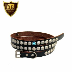 正規取扱店 HTC(Hollywood Trading Company) #WHEEL SILVER STUDS BELT シルバータッズベルト BLACK LEATHER ブラックレザー