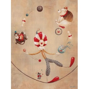 Oopsy daisy, Fine Art for Kids Vintage Circus Clown Stretched Canvas Art by Sarah Lowe, 18 by 24...