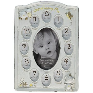 Dicksons Jesus Loves Me First Year Photo Frame, White by Dicksons