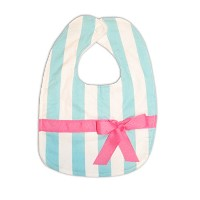 Caught Ya Lookin' Reversible Baby Bib, Blue and White Stripe with Hot Pink Ribbon by Caught Ya...