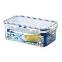 Lock&Lock 25-Fluid Ounce Rectangular Food Container with Tray, 3.1-Cup, Butter Case by LockandLock