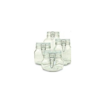 Set of 4 (Four) Bormioli Rocco Fido Glass Canning Jars - 4 Piece - .5, .75, 1 and 1.5 Liters by...
