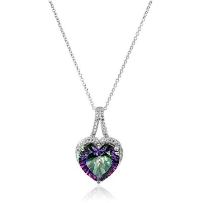 "Curated Sterling Silver and Mystic Fire Topaz Diamond-Accented Heart Pendant Necklace, 18""..."