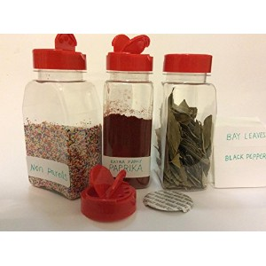 16 Oz. Plastic Spice Storage Container with Sifter & Spoon Cap - 6 sets - plus 6 mini plastic...