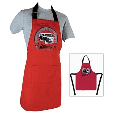 Vw Collection By Brisa Vw T1 Camper Van Cooking Apron/bbq Apron, Red
