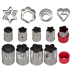 Einfac Stainless Steel Vegetable Cutter Shapes Set (20pcs) Vegetable Fruit Cookie Cutter Mold -...