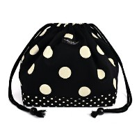decorPolkaDot 巾着(中サイズ) polka dot large(twill・black)×polka dot small(twill・black)【ポーチ ランチバッグ 給食袋】(幼児...