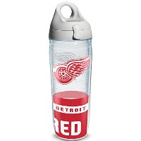 """Tervis 1145501"""" NHL Detroit Red Wings """"ウォーターボトルグレー蓋、ラップ、24オンス、クリア"""