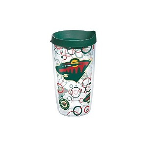 Tervis NHL Minnesota Wild Bubble Up Wrap Tumbler withハンターグリーン旅行蓋、16オンス、クリア