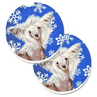 Caroline 's Treasures Chinese Crested Winter Snowflakes Holiday 2カップホルダー車コースターのセットlh9302carc、2.56...