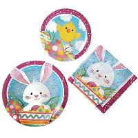 Creative Converting Easter Bunny DisposeableペーパープレートパーティーSuppliesバンドルセットの3サービスfor 8 Guests