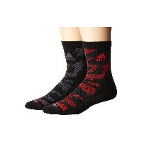 アディダス メンズ 靴下 アンダーウェア Tiger Style High 2-Pack Quarter Socks Black/Scarlet/Onix