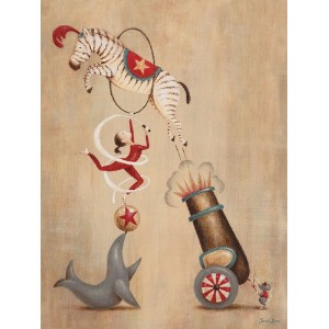 Oopsy daisy, Fine Art for Kids Vintage Circus Cannon Stretched Canvas Art by Sarah Lowe, 18 by 24...