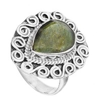 Faceted Gemstone Spiral Ring - Sterling Silver - Color Labradorite Ring Size 8.5