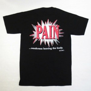 "【中古】Excel Physical Therapy × USMC ""Pain Weakness Leaving The Body"" Tシャツ 黒 表記(S)【古着 mellow楽天市場店】"