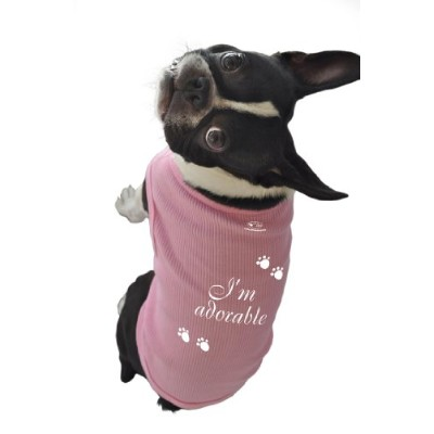 Ruff Ruff and Meow Dog Tank Top, I'm Adorable, Pink, Large by Ruff Ruff and Meow