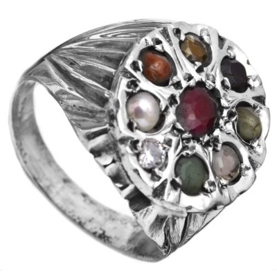 Navaratna Ring - Sterling Silver Ring Size 10