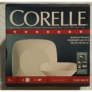 Corelle Square 8pc Pureホワイト耐久性Vitrelleガラス食器セット( 4–9で。プレート& 4- 6.5in。Bowls )