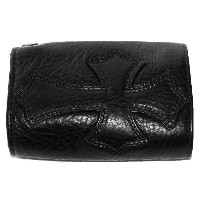 CHROME HEARTS 3 FOLD BLACK HEAVY LEATHER WALLET W/CROSS PATCH クロムハー ツ 3つ折 ウォレット クロス ブラック ヘビーレザー