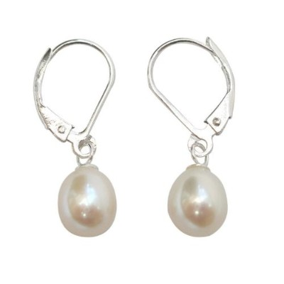 (8.0-9.0mm) - Cultured Freshwater White Pearl Sterling Silver Leverback earrings presented in a...