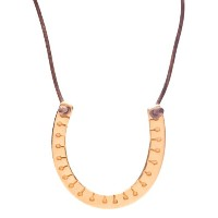 F Is For Frank Peacock Luck Necklace in Gold onブラウンレザー