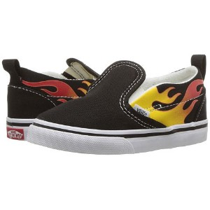 (バンズ) VANS キッズスニーカー・靴 Slip-On V (Toddler) (Flame) Black/Black/True White 5.5 Toddler 13.5cm M ...