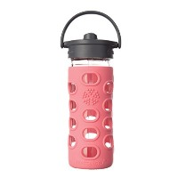 Lifefactory Glass Bottle with Straw Cap and Silicone Sleeve, 12-Ounce 水筒 340ml コーラル
